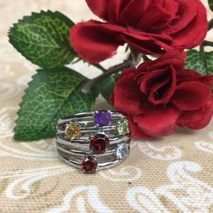 Multi Gem Stone Stainless Fashion Ring